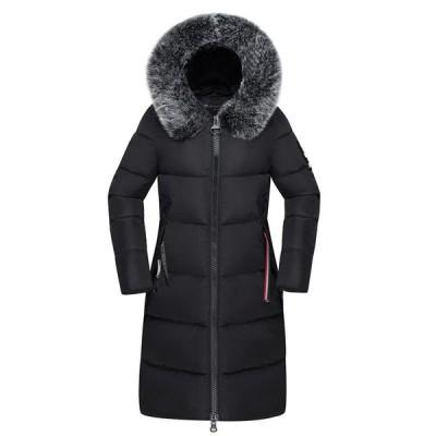 レディース 冬用 綿服 ダウンコットン 中綿ジャケット ロング丈 中綿入りコート 厚手 ファー取外し可能 フード付き