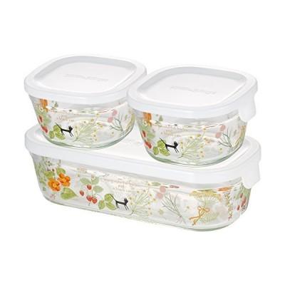 iwaki(イワキ) 耐熱ガラス 保存容器 シンジカトウ colorful herbs 3個セット パック&レンジ PS-PRNSNB3