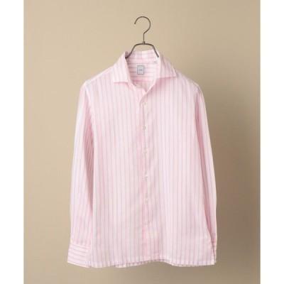 【シップス メン】SD: ウォッシュド ICE COTTON(R) ワンピース ストライプ ピンク シャツ
