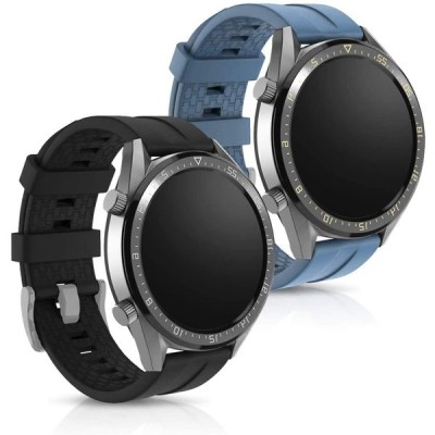 kwmobile 対応: Huawei Watch GT (46mm) 交換 アームバンド - 2x シリコン フィットネストラッカー - スポーツア