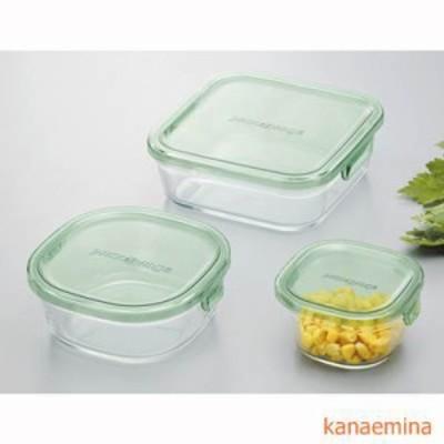 耐熱ガラス食品保存容器 蓋 フタ付き 3点セット グリーン