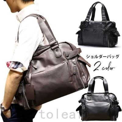 ショルダーバッグメンズバッグ斜めがけバッグハンドバッグトラベルバッグメンズ鞄PU軽量通勤通学旅行トラベルプレゼント普段使い