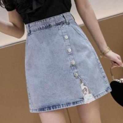 【2020春夏】【S-L】チラリと見える刺繍が大人可愛いショートデニムスカート♪ ミニスカート ショート丈 Aライン 無地 シンプル バック