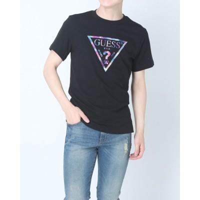 ゲス GUESS Unisex Aurora Film Triangle Logo Tee (BLACK)