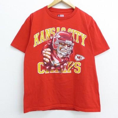 L/古着 半袖 Tシャツ NFL カンザスシティチーフス 両面プリント コットン クルーネック 赤 レッド アメフト スーパーボウル 20jun29 中古 メンズ