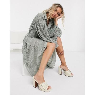 オブジェクト Object レディース ワンピース シャツワンピース Maxi Shirt Dress With Pleating And Volume Sleeve In White Spot スポットプリント