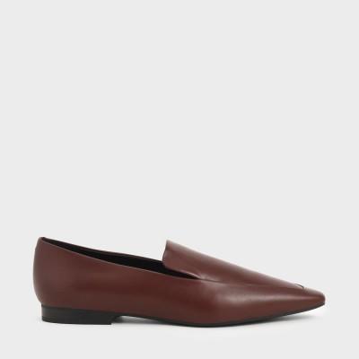 アーモンドトゥ ローファーフラット / Almond Toe Loafer Flats (Brick)