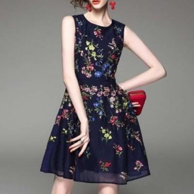ワンピースドレス デート 女子会 黒 大きいサイズ ひざ丈 ノースリーブ 袖なし Aライン レース 花柄 刺繍 ラウンドネック 30代 きれいめ