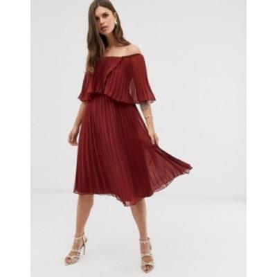 エイソス レディース ワンピース トップス ASOS DESIGN pleated bandeau midi dress with double layer Burgundy