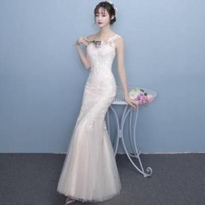 2020年新作 送料無料 レース刺繍 マーメイド ロングタイトドレス ウェディングドレス 白 二次会 花嫁 大きいサイズ シースルー 透け感 ノ