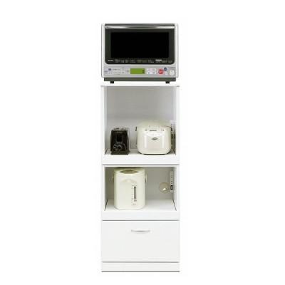 レンジ台 幅50 レンジボード 食器棚 キッチン収納 日本製 オーロラII 50ダブル WH