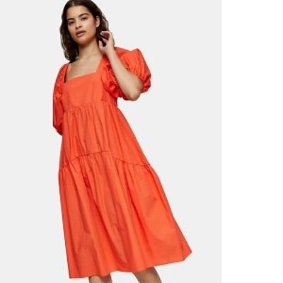 トップショップ レディース ワンピース トップス Topshop tiered poplin midi smock dress in orange Cr1