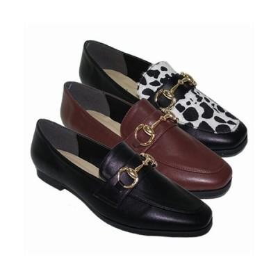 フラットシューズ レディースシューズ レディースファッション 靴 秋冬 ローファー ビット付き スクエアトゥ フラットローファー 定番 女性らしさ