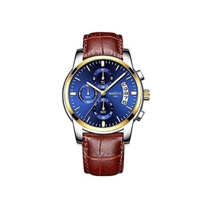 NIBOSI メンズ クロノグラフ クォーツウォッチ ファッション カジュアル ドレスウォッチ メンズ ブルー カレンダー 日付 腕時計 gold b