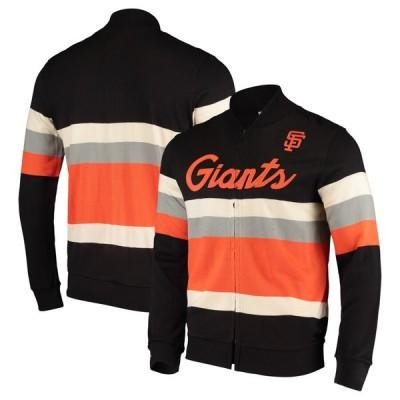 サンフランシスコ・ジャイアンツ Mitchell & Ness Front Stripe Full-Zip Sweater - Black