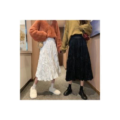 【送料無料】日系 スウィート 若くなる プリーツスカート 言葉 ドレス ゴム入りのウエスト 着やせ | 346770_A63800-8034532