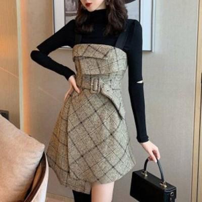 セットアップ 2点セット トップス チェック柄 キャミワンピース ミニ丈 可愛い デート レディース ファッション 韓国 オルチャン