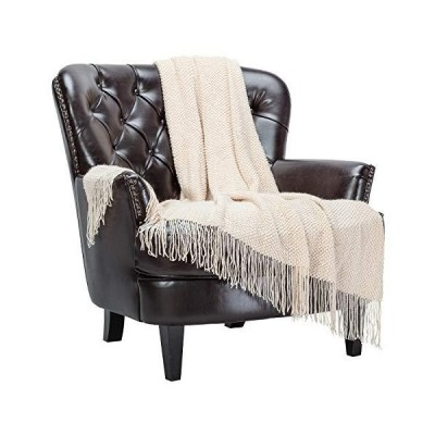 Chanasya Round Pearl Textured Super Soft Acrylic Throw Blanket with Tassels - Warm Cozy Lightweight Fluffy Blanket for Bed Sofa Chair Couch