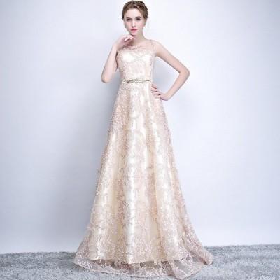 上品パーティードレスノースリーブ二次会ロングドレス大きいサイズ結婚式エレガント可愛い刺繍花丸襟演奏会細身3色入ステージ衣装hs3289