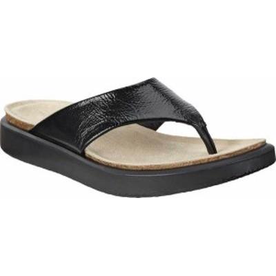 エコー レディース サンダル シューズ Corksphere Thong Sandal Black Crinkle Patent/Cow Leather
