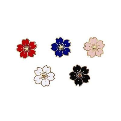 JIYAOANDX さくら ブローチ 人気桜の 5本セット レディースラペルピン桜の花バッジ タックピン ネクタイピン いいね プレゼント誕生日はなジ
