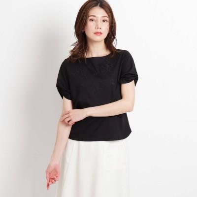 スーナウーナ SunaUna 袖タック刺繍プルオーバー (ブラック)