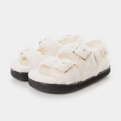 ファーリー フラットサンダル / Furry Flat Sandals (Chalk)