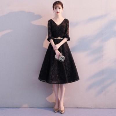 パーティードレス 結婚式 二次会 ワンピース 結婚式 お呼ばれ ドレス 20代 30代 40代 結婚式 お呼ばれドレス Vネック 総レース ドレス ワ