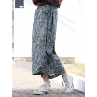 Ungrid ペイズリーラップスカート(ブルー)