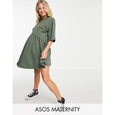 エイソス レディース ワンピース トップス ASOS DESIGN Maternity oversized mini smock dress with dropped waist in khaki Khaki