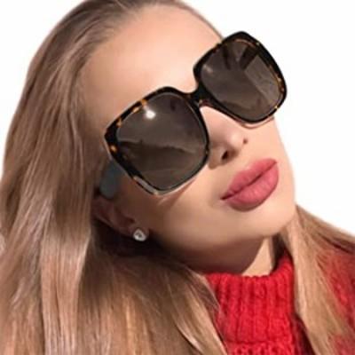 MuJaJa Oversized Square Suglasses for Women Polarized, Fashion Vintage Classic Shades for Outdoor UV Protection(Tortoise/Polariz