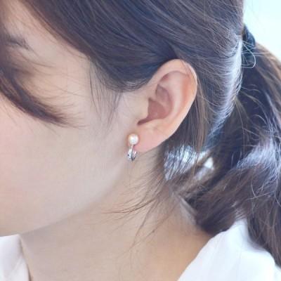 即納 イヤーカフ プラチナ パール レディース 圧調整可能 片耳用 リバーシブル 中折れ 日本製 刻印入り