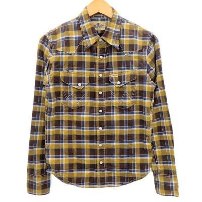 【11月28日値下】AKM ×Wrangler チェックウエスタンシャツ ブラウン サイズ:S (明石店)