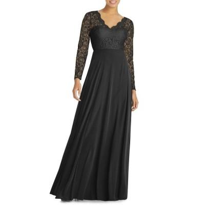 ドレッシーコレクション ワンピース トップス レディース Long Sleeve Lace & Chiffon A-Line Gown Black