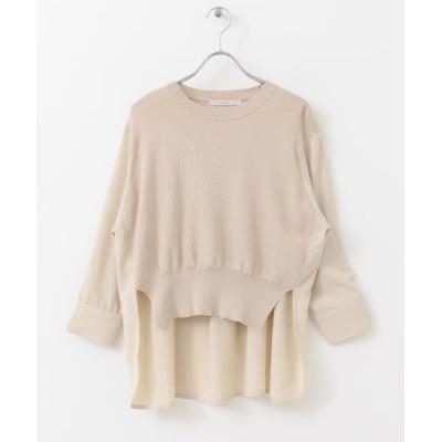 KBF/ケービーエフ 【WEB限定】ニットドッキングシャツ BEIGE one