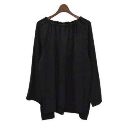 BEAUTY & YOUTH ギャザーバックリボンスリットシャツ ブラック サイズ:- (四ツ橋北堀江店) 210213