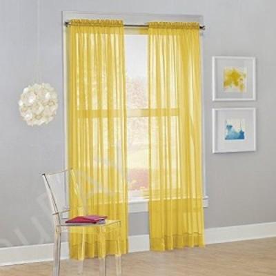 新品送料無料150cm x 160cm Lemon Yellow - S Lichtenberg No 918 Calypso Sheer Voile Rod Pocket Curtain Panel 150
