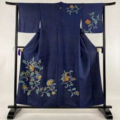 訪問着 秀品 一つ紋 花唐草 金彩 刺繍 紺色 袷 身丈157cm 裄丈64cm M 正絹 中古