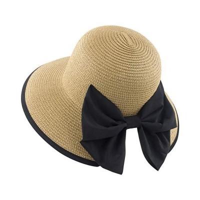 Muryobao レディース 麦わら帽子 幅広つば 折りたたみ式 折りたためる ロールアップキャップ 夏 UV保護 ビーチサンハット UPF50+ U