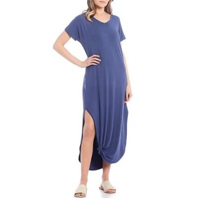 モアモア レディース ワンピース トップス Side Slit Maxi Dress