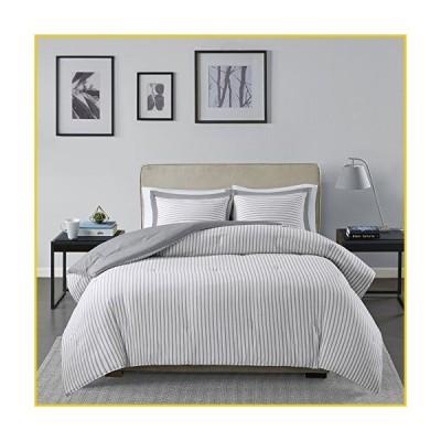 Madison Park Essentials Hayden Reversible Stripes ? 3 Piece Teen Set ? Ultra Soft Microfiber Bed Comforters, King/Cal King, Grey