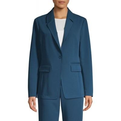 ホルストン ヘリテイジ H Halston レディース スーツ・ジャケット アウター long-sleeve one-button twill blazer ストームブルー