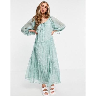 エイソス ASOS DESIGN レディース ワンピース Aライン ワンピース・ドレス Soft Tiered Maxi Dress In Sage Ditsy Print