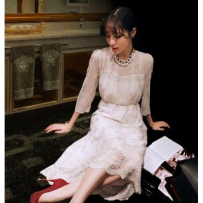 フラワー 刺繍 スカラップ レース シースルー ロング  ドレス