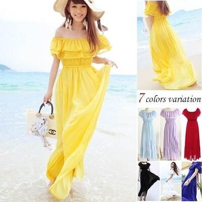4way夏ギャザーフレアシフォンマキシワンピマキシワンピースロングドレス大きいサイズ