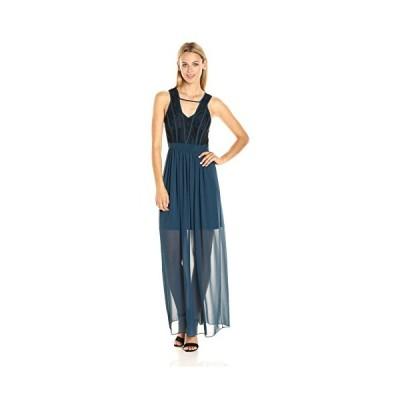 ビーシービージェネレーション BCBGeneration レディース Binded コントラスト Maxi ドレス, ストーム シー,(海外取寄せ品)