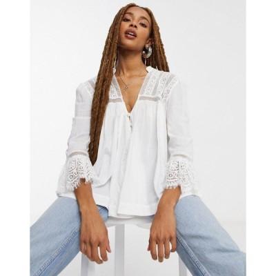 フリーピープル レディース カットソー トップス Free People Esme button-down embroidered blouse in white White