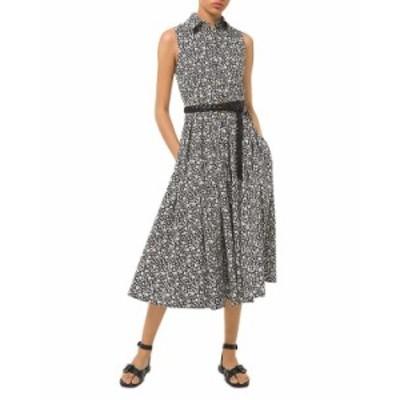 マイケルコース レディース ワンピース トップス MICHAEL Floral Print Shirt Dress Black/ecru
