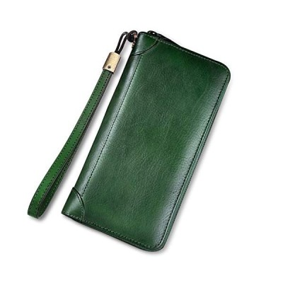 (新品) Genuine Leather Wallet for Women Dual Use Zip Long Purse Vintage Handmade Clutch Cowhide Card Holder Organizer (DarkGreen)
