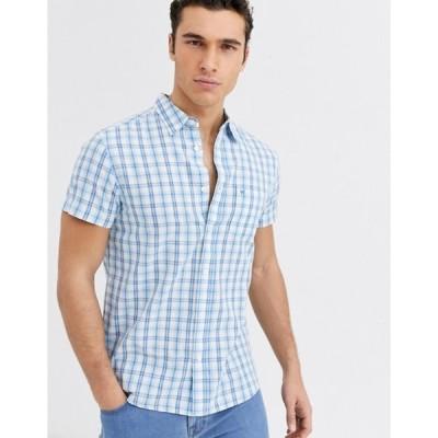 ラングラー メンズ シャツ トップス Wrangler plaid check short sleeve shirt in blue